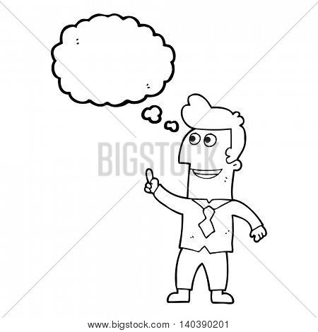 freehand drawn thought bubble cartoon businessman pointing