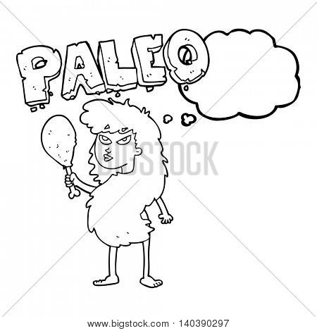 freehand drawn thought bubble cartoon woman on paleo diet