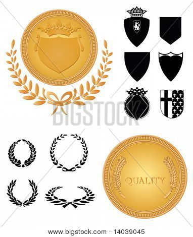 heraldry design set with medals