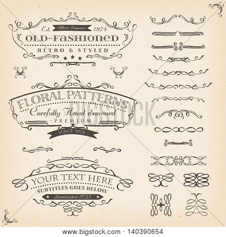 Illustration of a set of retro labels frames sketched banners floral patterns and graphic design elements on vintage old paper background