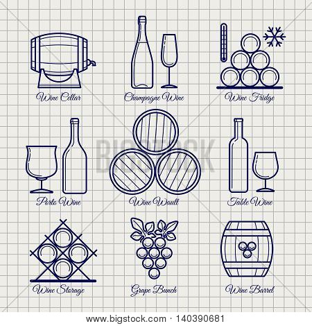 Wine line icons set vector. Barrels, glasses, grape and bottle on notebook