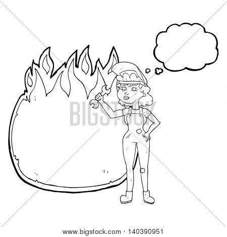 freehand drawn thought bubble cartoon woman with spanner