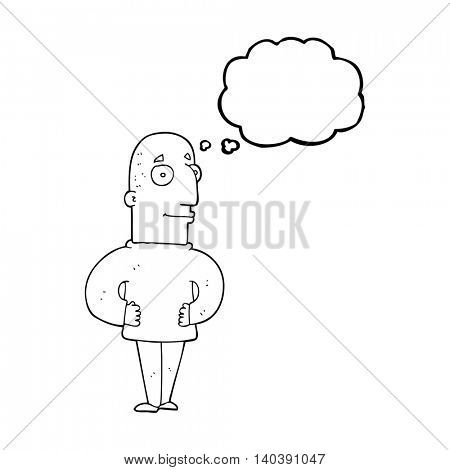 freehand drawn thought bubble cartoon content man