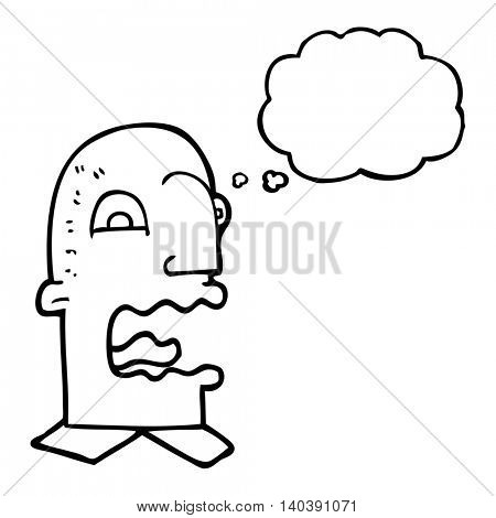 freehand drawn thought bubble cartoon burping man