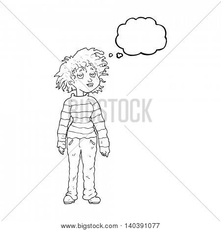 freehand drawn thought bubble cartoon chilled out girl