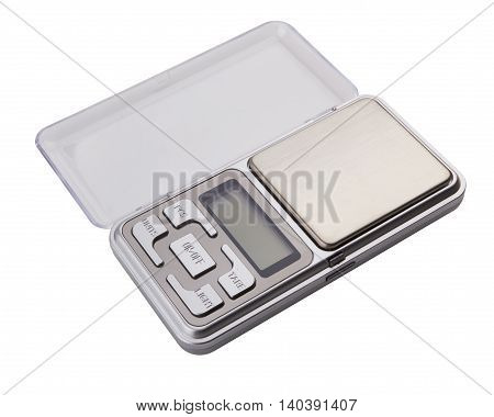 Portable electronic scale isolated on a white background