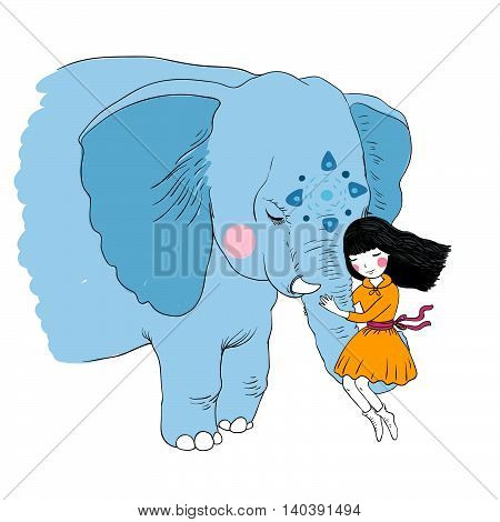 Beautiful girl and the elephant. Hand drawing isolated objects on white background. Vector illustration.
