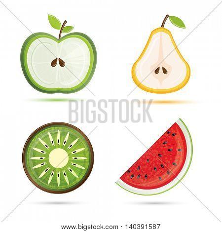 Fruit set. Pear, apple, watermelon, kiwi. Vector illustration. Fruit isolated on white background.