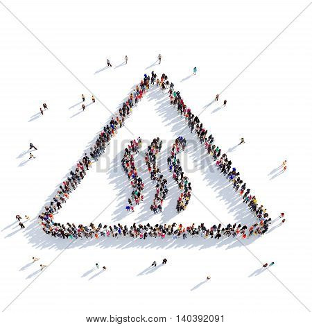 Large and creative group of people gathered together in the shape of a road sign. 3D illustration, isolated against a white background. 3D-rendering.