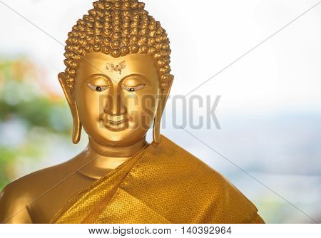 Buddha brass painted gold leaf throughout the body( Public devout Buddhists)