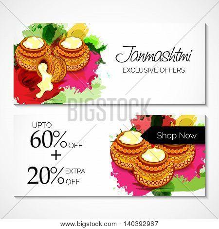 illustration of a offer header/banner for Happy Krishna Janmashtami