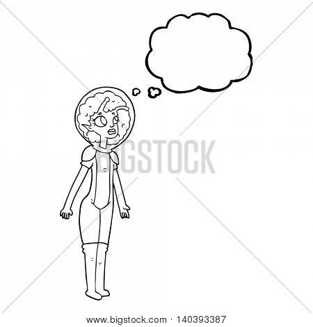 freehand drawn thought bubble cartoon alien space girl