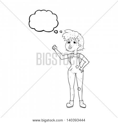 freehand drawn thought bubble cartoon confident farmer woman
