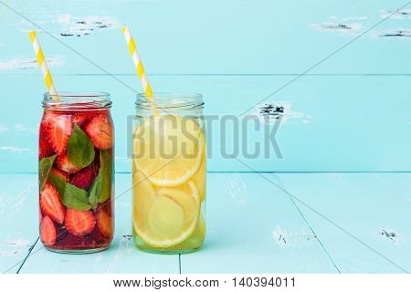 Detox fruit infused flavored water. Refreshing summer homemade cocktail. Clean eating