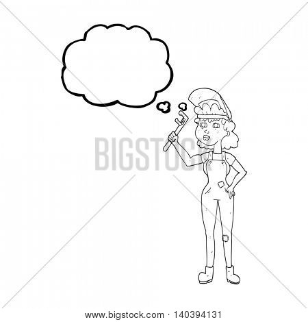 freehand drawn thought bubble cartoon capable woman with wrench