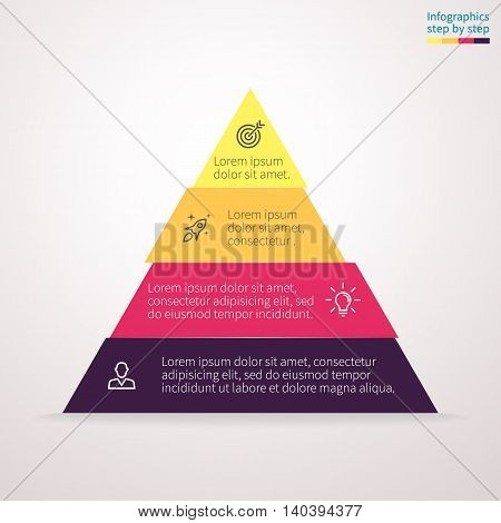 Pyramid for infographics with numbers. Chart, diagram with 4 steps, options. Vector design element.