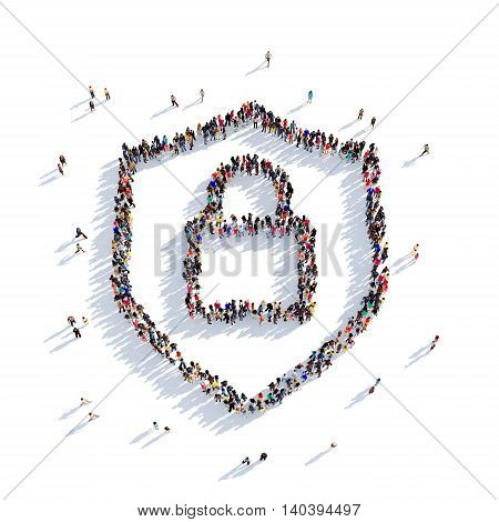 Large and creative group of people gathered together in the shape of a lock . 3D illustration, isolated against a white background. 3D-rendering.