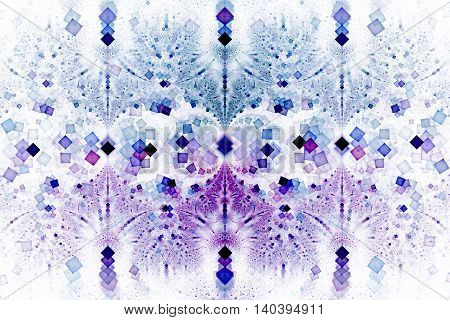 Intricate geometric ornament. Abstract symmetric background. Fantasy fractal texture in white black blue and purple colors. Digital art. 3D rendering.
