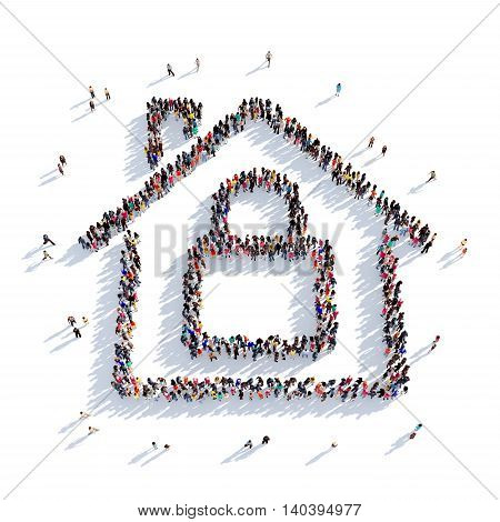 Large and creative group of people gathered together in the shape of the house, a lock. 3D illustration, isolated against a white background. 3D-rendering.