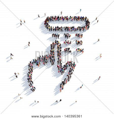 Large and creative group of people gathered together in the shape of a set of pincode. 3D illustration, isolated against a white background. 3D-rendering.