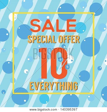 Special Offer 10 Percent On Colorful Blue Bubbles And Stripes Vector Illustration. EPS 10