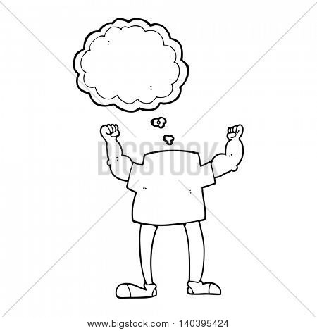 freehand drawn thought bubble cartoon headless man