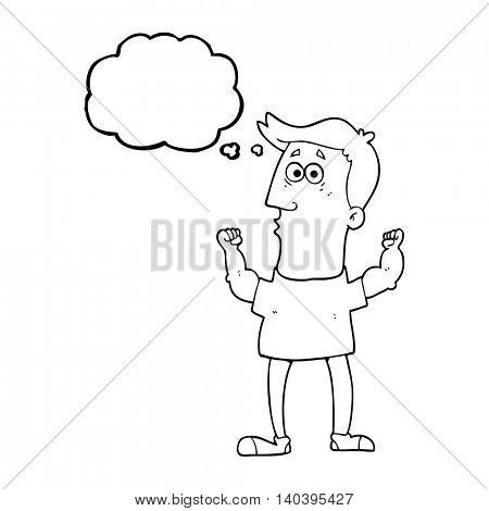freehand drawn thought bubble cartoon surprised man flexing biceps