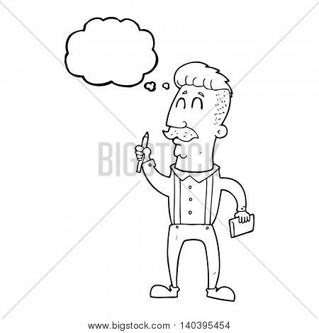 freehand drawn thought bubble cartoon man with notebook