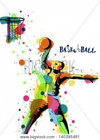 Creative illustration of a Basketball Player with abstract colorful splash, Can be used as Poster, Banner or Flyer design for Sports concept.