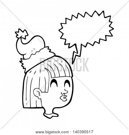 freehand drawn speech bubble cartoon girl wearing christmas hat