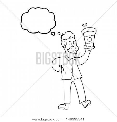 freehand drawn thought bubble cartoon man with coffee cups