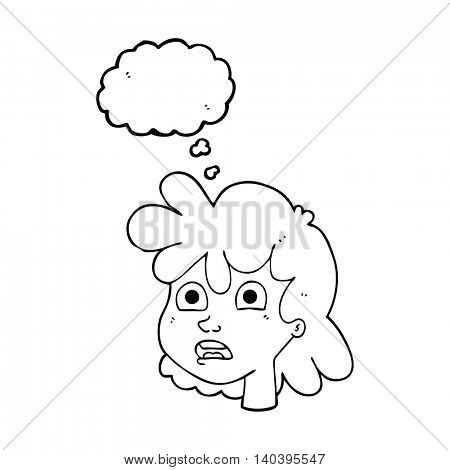freehand drawn thought bubble cartoon female face