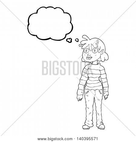 freehand drawn thought bubble cartoon casual alien girl