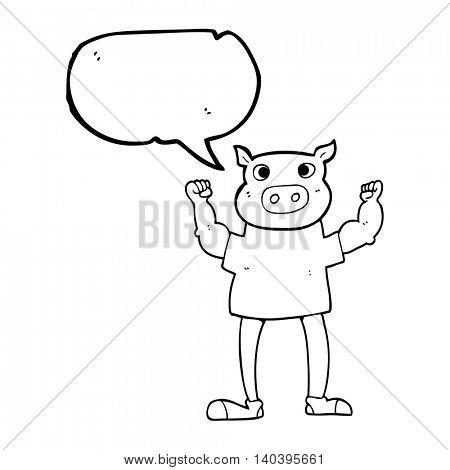 freehand drawn speech bubble cartoon headless man