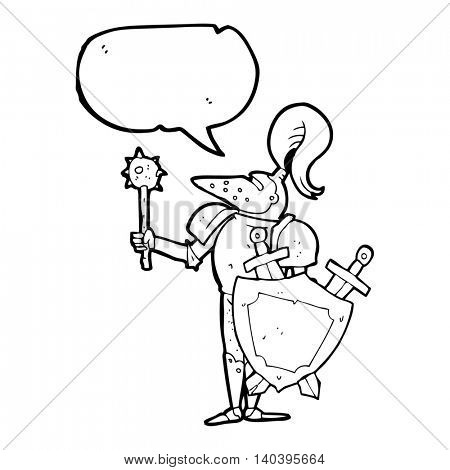 freehand drawn speech bubble cartoon medieval knight with shield