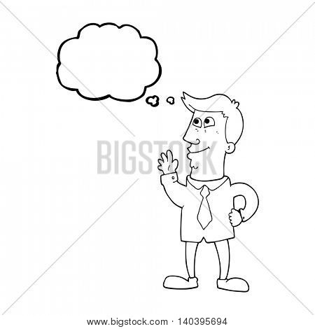 freehand drawn thought bubble cartoon waving man