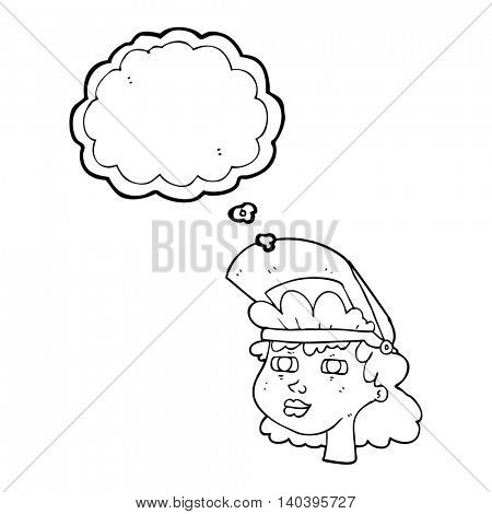 freehand drawn thought bubble cartoon woman with welding mask