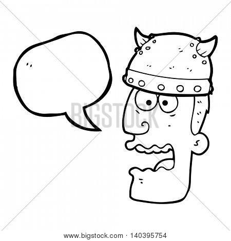 freehand drawn speech bubble cartoon screaming warrior man