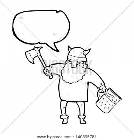 freehand drawn speech bubble cartoon drunk viking