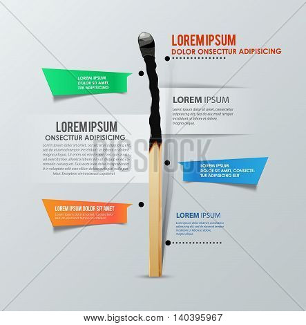 Infographics template with burned match. Report template. Vector illustration