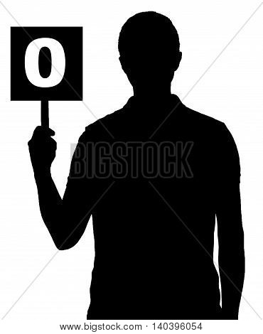 silhouette man holding black table with number zero