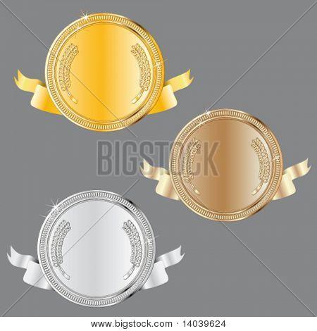 award set - vector medals