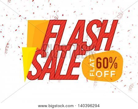 Creative Poster, Banner or Flyer design of Flash Sale with Flat 60% Off, Vector illustration.