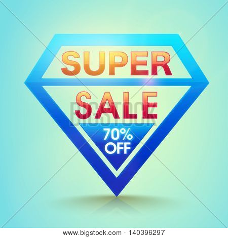 Super Sale with 70% Off, Creative Badge design on shiny background, Stylish Poster, Banner or Flyer, Vector illustration.