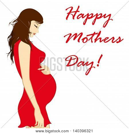 beautiful pregnant woman. happy mothers day. Vector illustration
