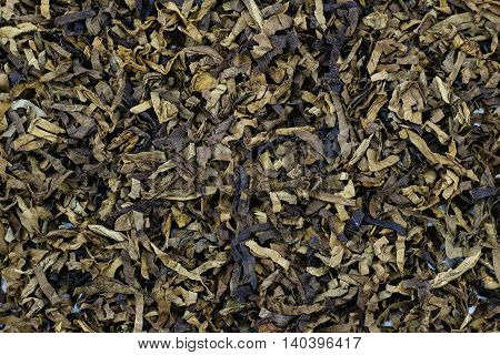 Close up of the texture of pipe tobacco