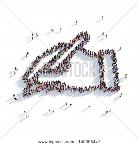 Large and creative group of people gathered together in the shape of handwriting. 3D illustration, isolated against a white background. 3D-rendering.