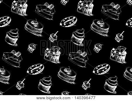 Tasty Cakes Seamless Pattern. Cream Food Background. Bakery sticker and wrap print and fabric. Candy sweet wallpaper. Vector
