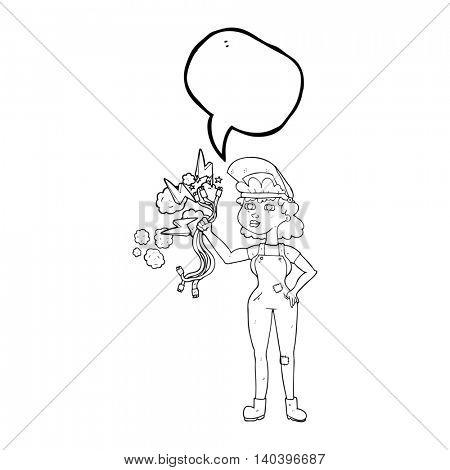 freehand drawn speech bubble cartoon electrician woman