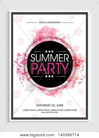 Summer Party Template, Dance Party Flyer, Night Party Banner or Club Invitation with abstract design.